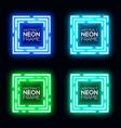 neon light square banner set shining techno frame vector image vector image