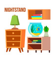 nightstand bedside tables desks cartoon vector image vector image
