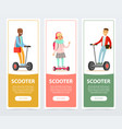 people riding on modern electric self balancing vector image vector image