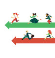 people running along arrows for competition vector image