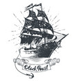 pirate ship - hand drawn black vector image