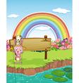 Rabbit and rainbow vector image vector image