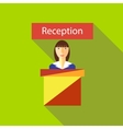 Reception in hotel icon flat style vector image