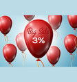 red balloons with an inscription big sale three vector image vector image
