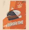 retro poster with burger with beef meat vector image vector image