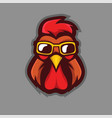 rooster wearing glasses mascot logo design with vector image
