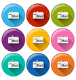 Rounded icons with mailbox vector image