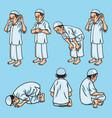 salah sholat shalat muslim pray set movement vector image vector image