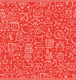 seamless pattern with love symbols in line style vector image vector image