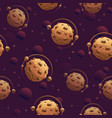 seamless pattern with yummy chocolate planets vector image vector image