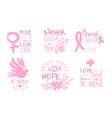 set characters on topic breast cancer vector image vector image