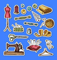 set hand drawn sewing elements stickers vector image
