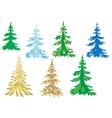 set of creative christmas trees vector image vector image