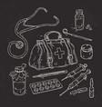 set of medical tools doctor bag medicines pills vector image vector image
