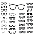 Set of sunglasses and glasses vector image vector image