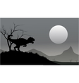Silhouette of allosaurus with moon vector image vector image