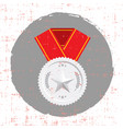 silver medal with star and red banner icon with vector image vector image