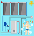 Solar Water Heater system and man in the bathroom vector image vector image
