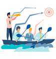 team work on boat flat vector image vector image