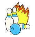 ten pin bowling comic cartoon vector image vector image