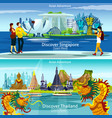 thailand and singapore travel compositions vector image vector image