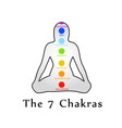the seven chakras with their respective colors and vector image