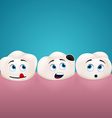 Three teeth look at the hole in one of them vector image vector image