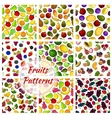 Vegetables and fruit set of seamless patterns vector image