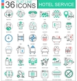 Hotel service flat line outline icons for vector image