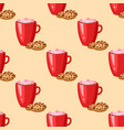 sweet delicious cracker coffee cup morning bakery vector image