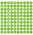 100 journalist icons hexagon green vector image vector image