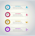 4 steps of infographic with blue red yellow and vector image