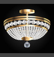 a crystal chandelier on a dark background vector image vector image