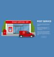 banner post office service with postman riding car vector image vector image