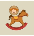 beautiful girl smiling rocking horse vector image