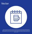 blue line saint patricks day with calendar icon vector image vector image