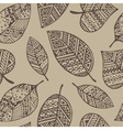 Brown line graphic leaf seamless pattern pr vector image vector image