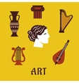 Classical flat art and musical instruments icons vector image vector image