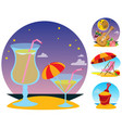 cocktails guitar beach chair toy bucket set of vector image