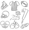 collection of sport equipment art vector image vector image