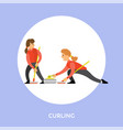 curling sport players slide stones towards target vector image vector image