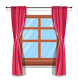 curtains on wooden widow blinds or shutters vector image vector image