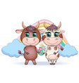 cute cartoon couple cow and bull with flowers on vector image vector image