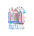 exotic summer travel to malta logo vector image vector image
