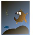 Fish looks at the hook vector image vector image