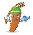 fishing tamarind mascot cartoon style vector image vector image