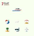 flat icon season set of aircraft deck chair boat