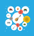flat icons weapon caravan zoom and other vector image vector image