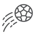 flying soccer ball line icon game and sport vector image vector image