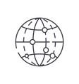 global data encryption line icon concept global vector image vector image